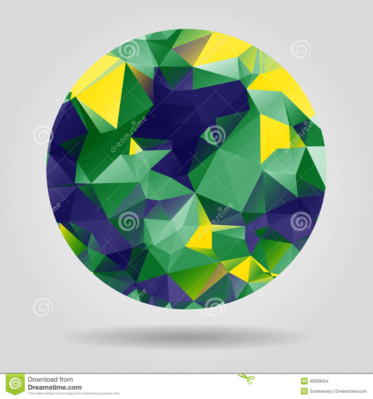 Abstract Geometric Colourful Spherical Shape From