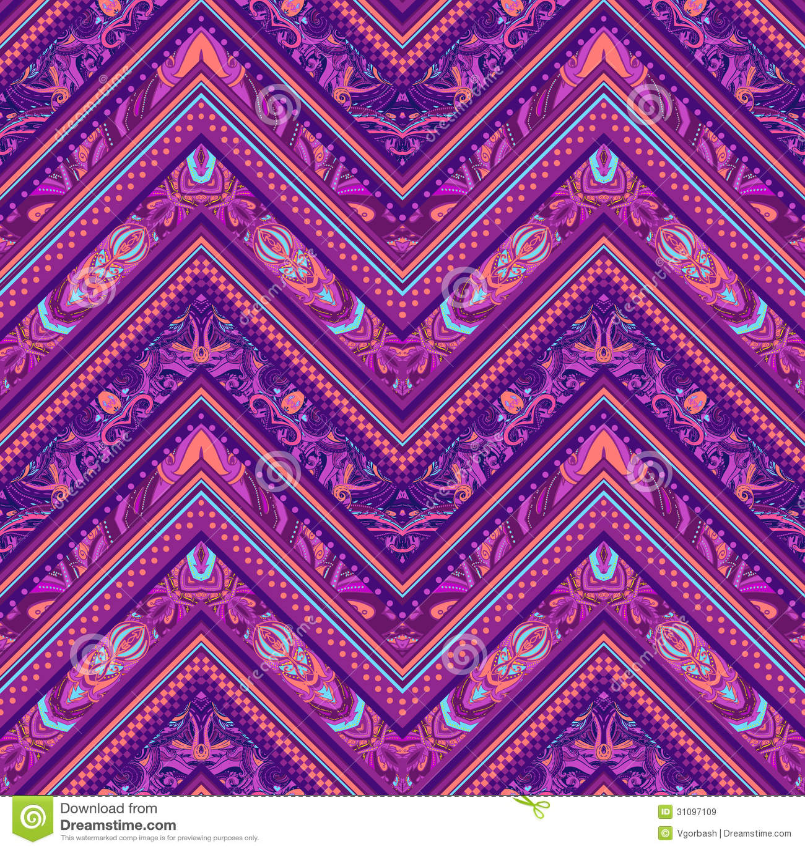 Abstract Geometric Ethnic Striped Seamless Fabric Pattern