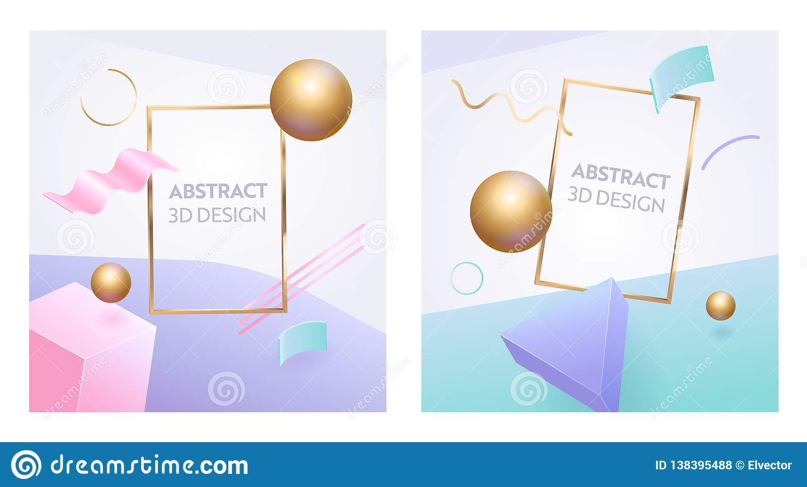 Abstract Geometric Figure Frame 3d Banner Set. Digital Graphic Sphere Shape Background for Advertising Marketing Poster
