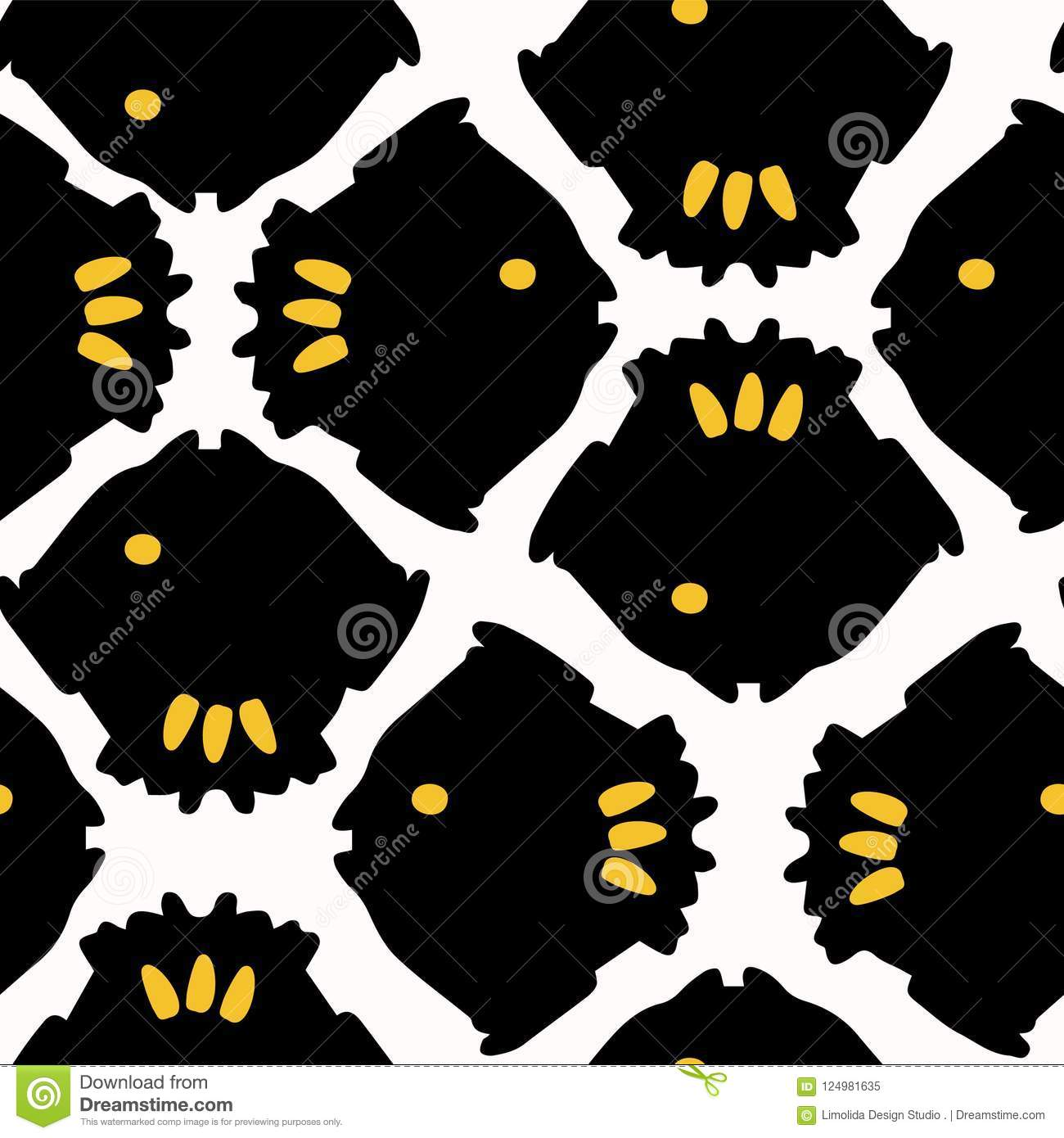 Abstract Geometric Fish Grid Yellow And Black Stock Vector
