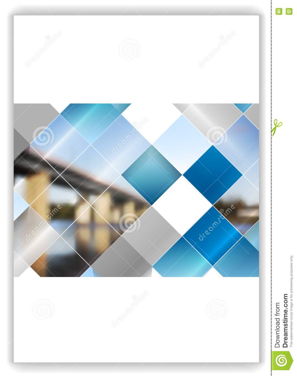 abstract geometric flyer template layout with bridge landscape stock