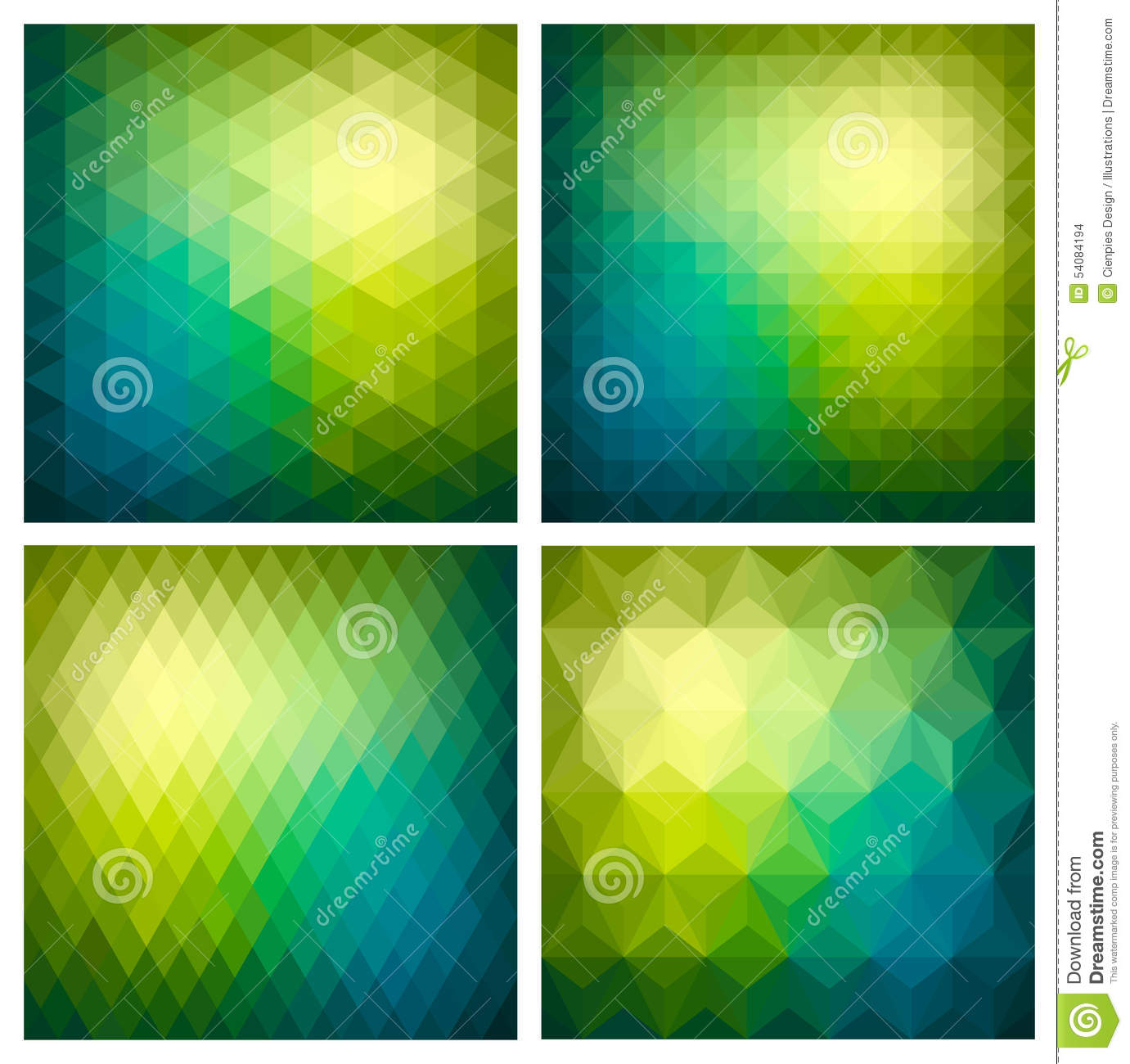 Abstract Geometric Green Background Set Stock Vector