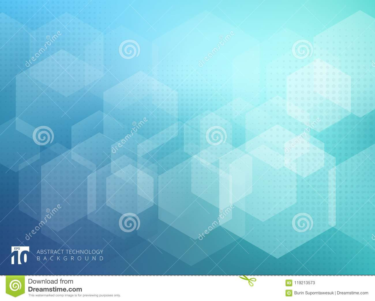 Abstract geometric hexagon overlay pattern on blue background.