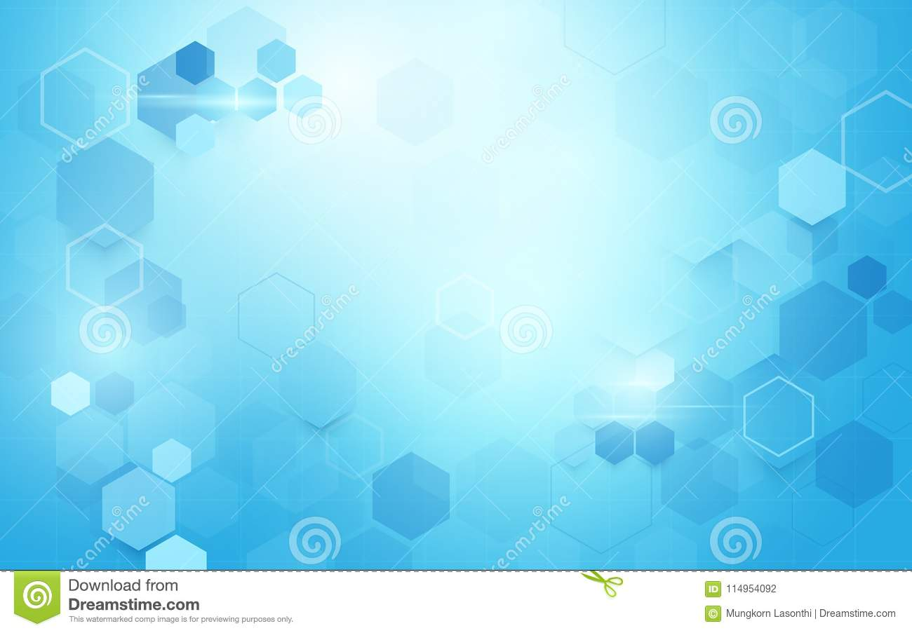 Abstract geometric hexagons shape. Science and medicine concept on soft blue background.