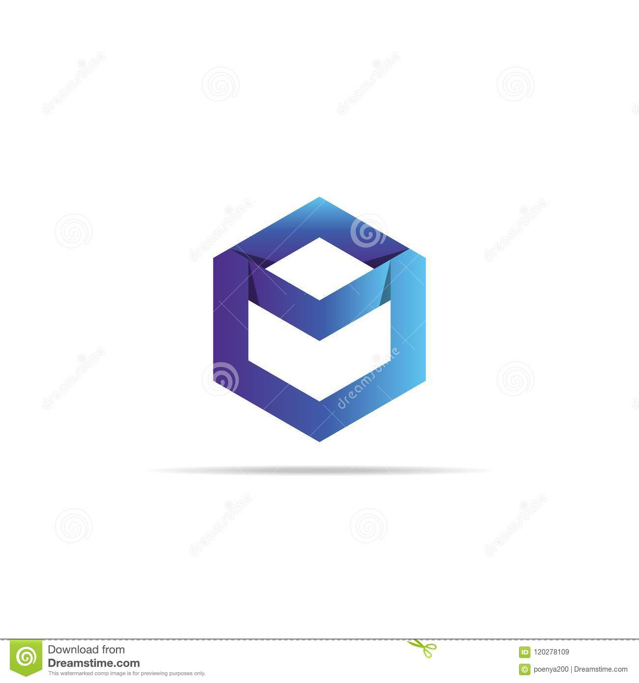 Abstract Geometric Letter M Logo Template With Infinity Hexagonal