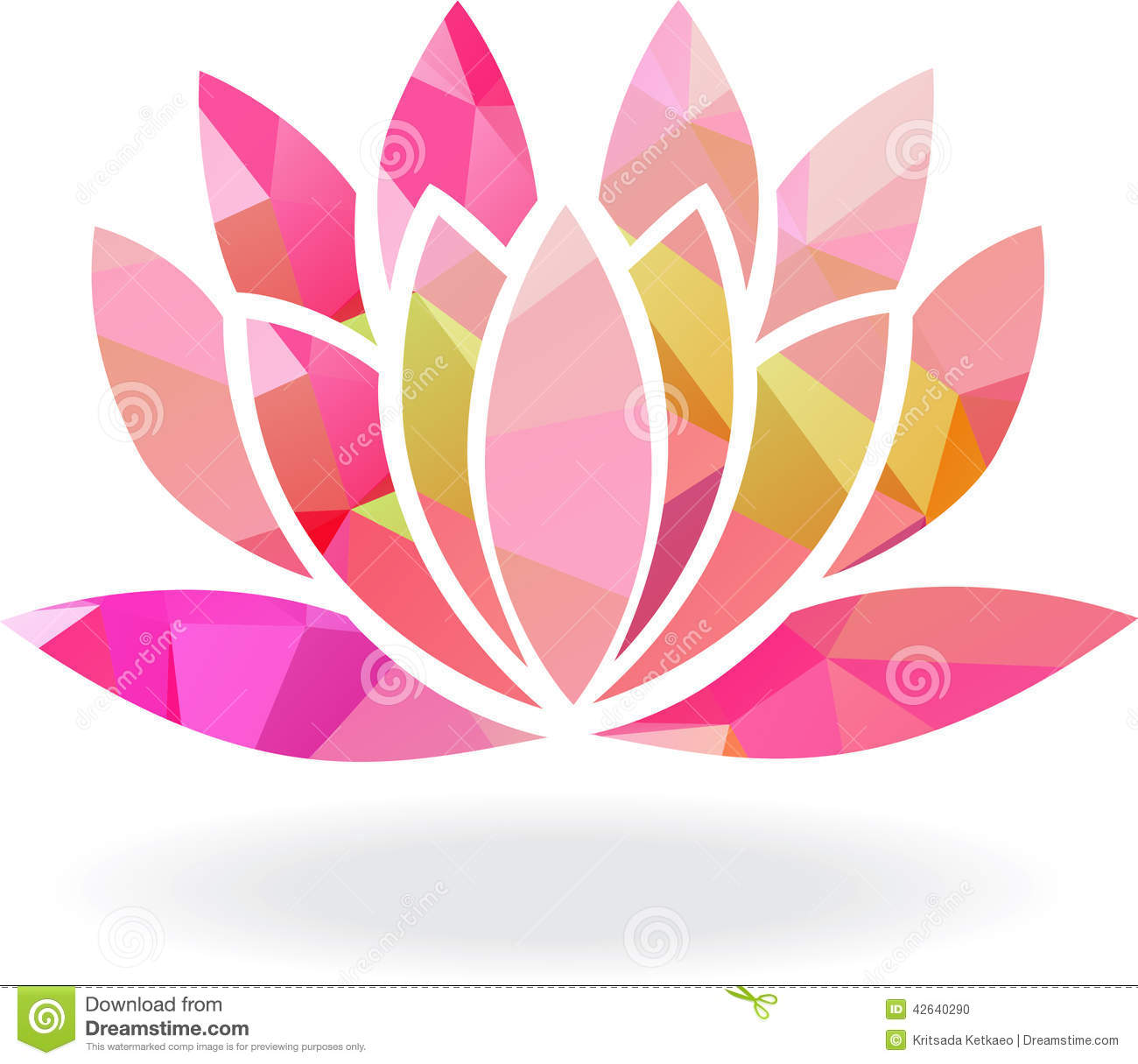 Abstract Geometric Lotus Flower In Multiple Colors Stock Vector ...