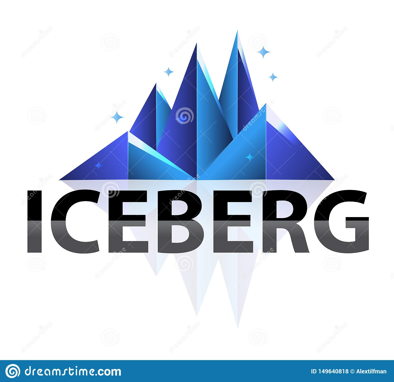 Creative Modern Abstract Geometric Low Poly shining Iceberg Logo. Flat style Illustration In Isolated White Background