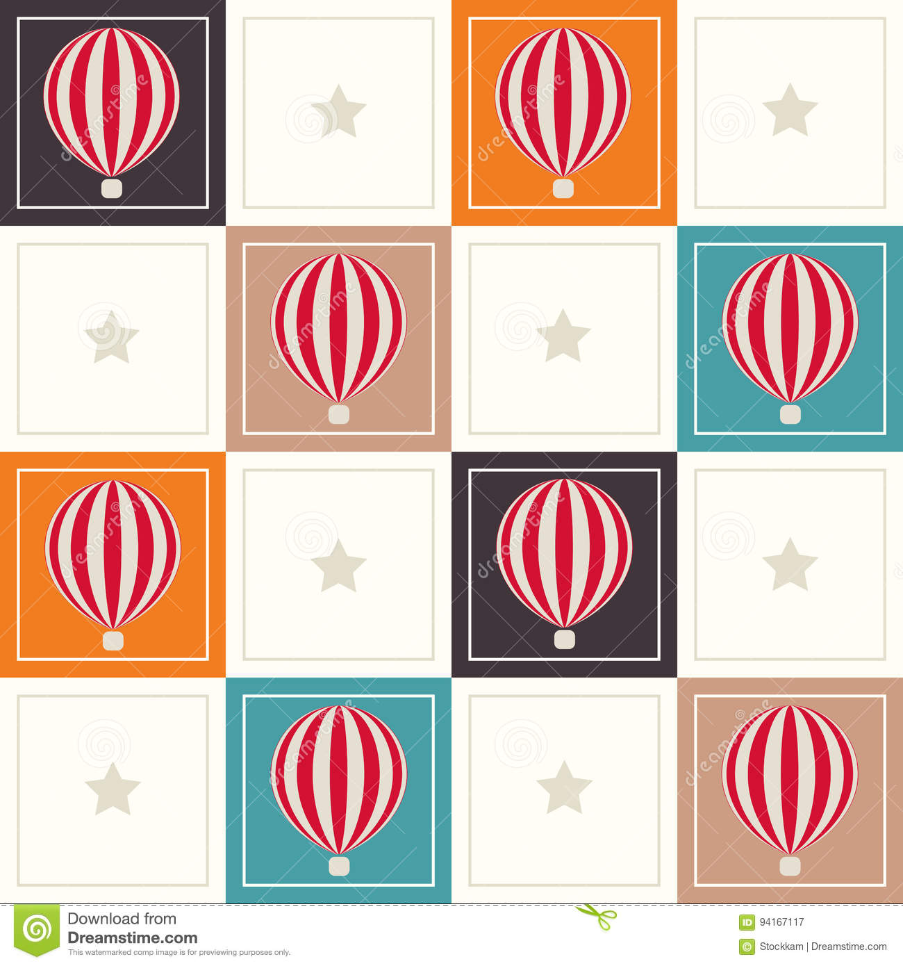 Abstract Geometric Pattern Background With Colorful Squares, Delicate Hot Air Balloons And Stars
