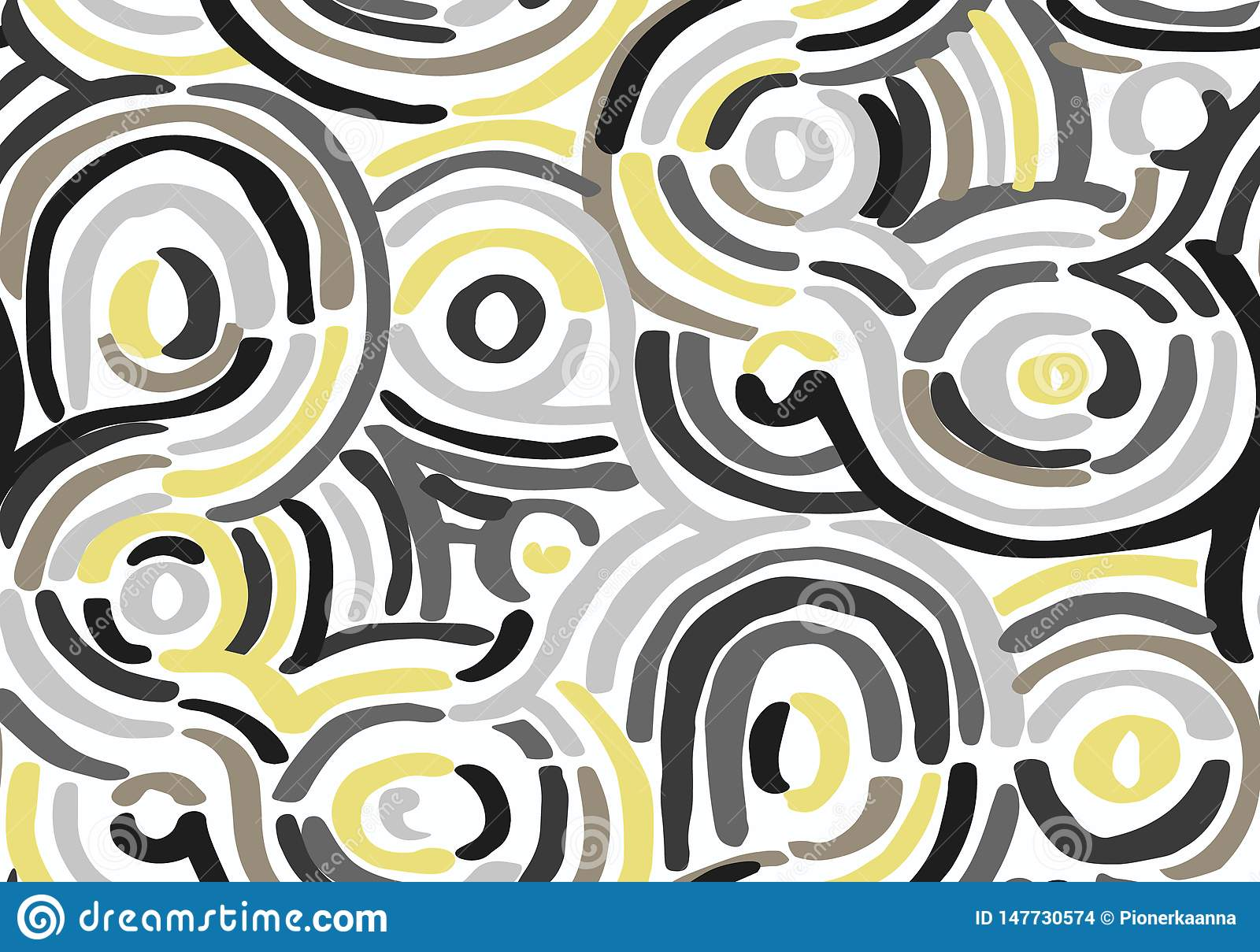 Abstract geometric pattern with wavy lines. Doodle backgrounded. Seamless vector background.
