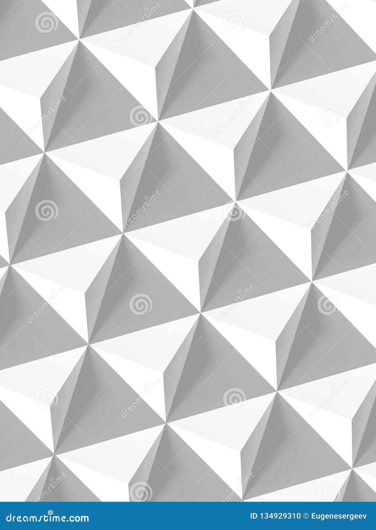 Abstract Geometric Pattern, White Pyramids 3d Stock Photo