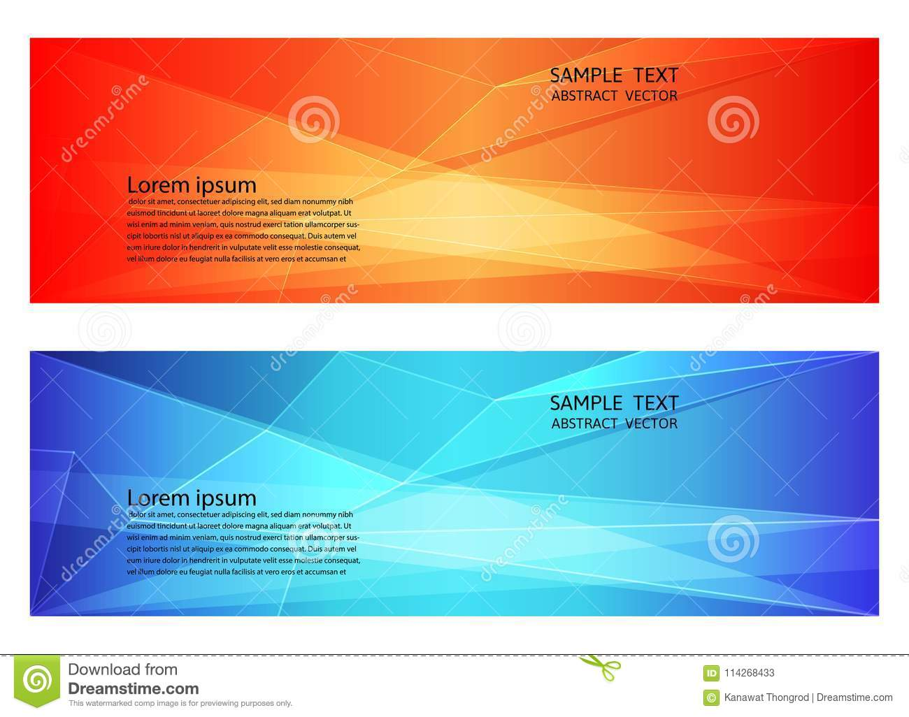 Abstract geometric red and blue color, Modern background with copy space, Vector illustration for your business banner