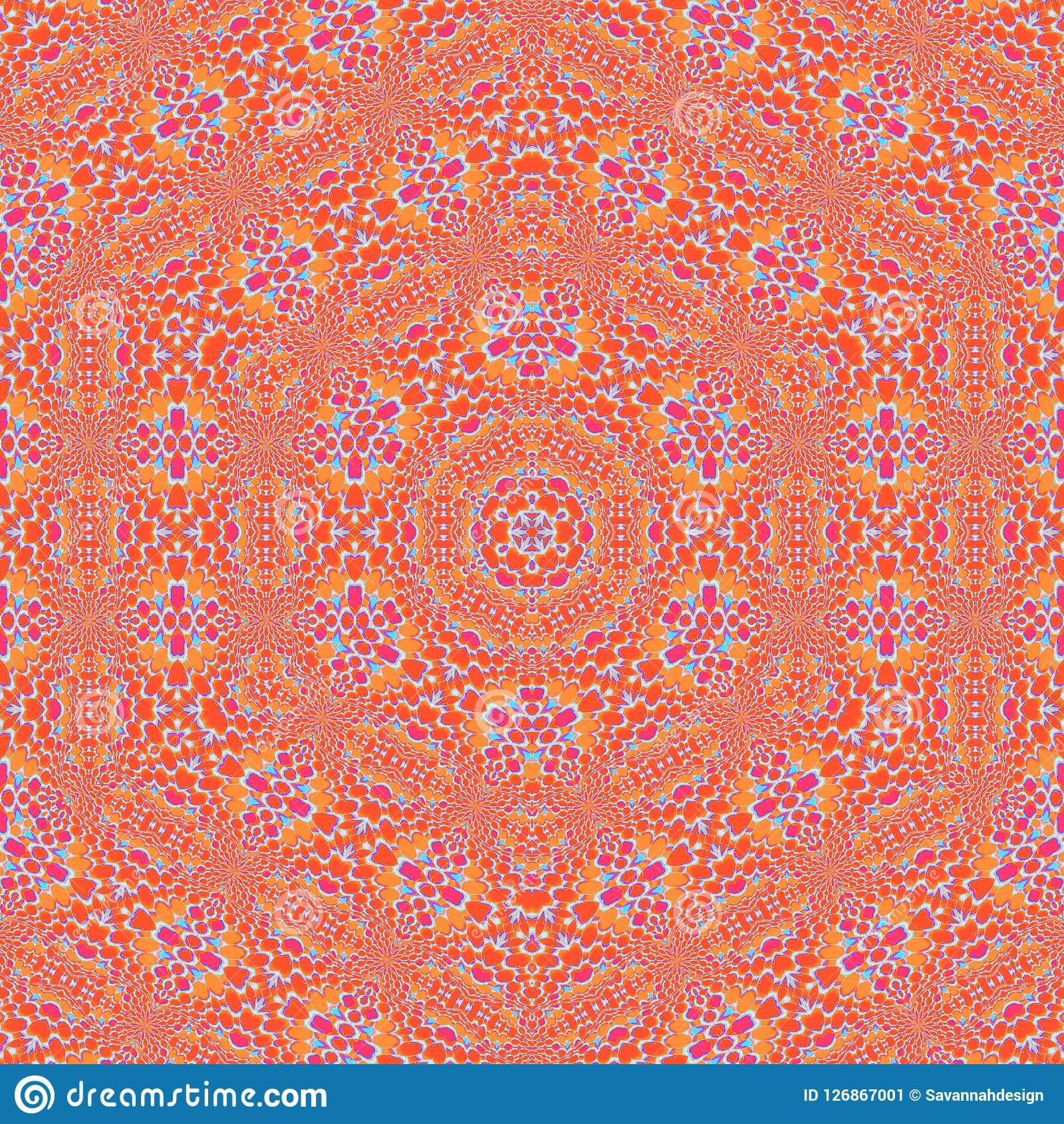 Seamless hexagon mosaic orange blue violet. Abstract geometric seamless background. Ornate hexagon mosaic in orange and red shades with light blue and violet Stock Illustration
