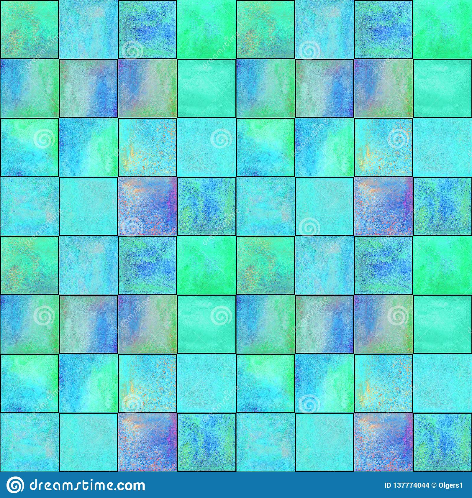 Abstract geometric seamless pattern with squares. Colorful watercolour artwork