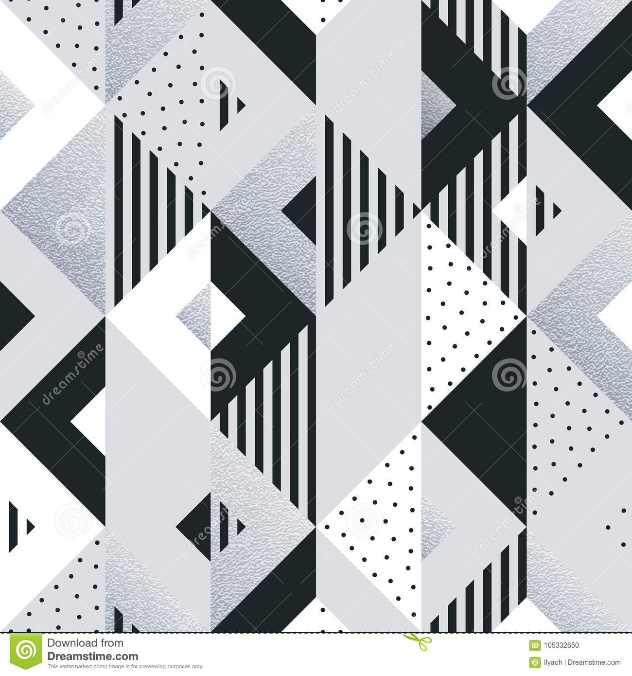 Abstract geometric silver pattern background of square and triangle elements for modern trendy design template. Vector geometry ba