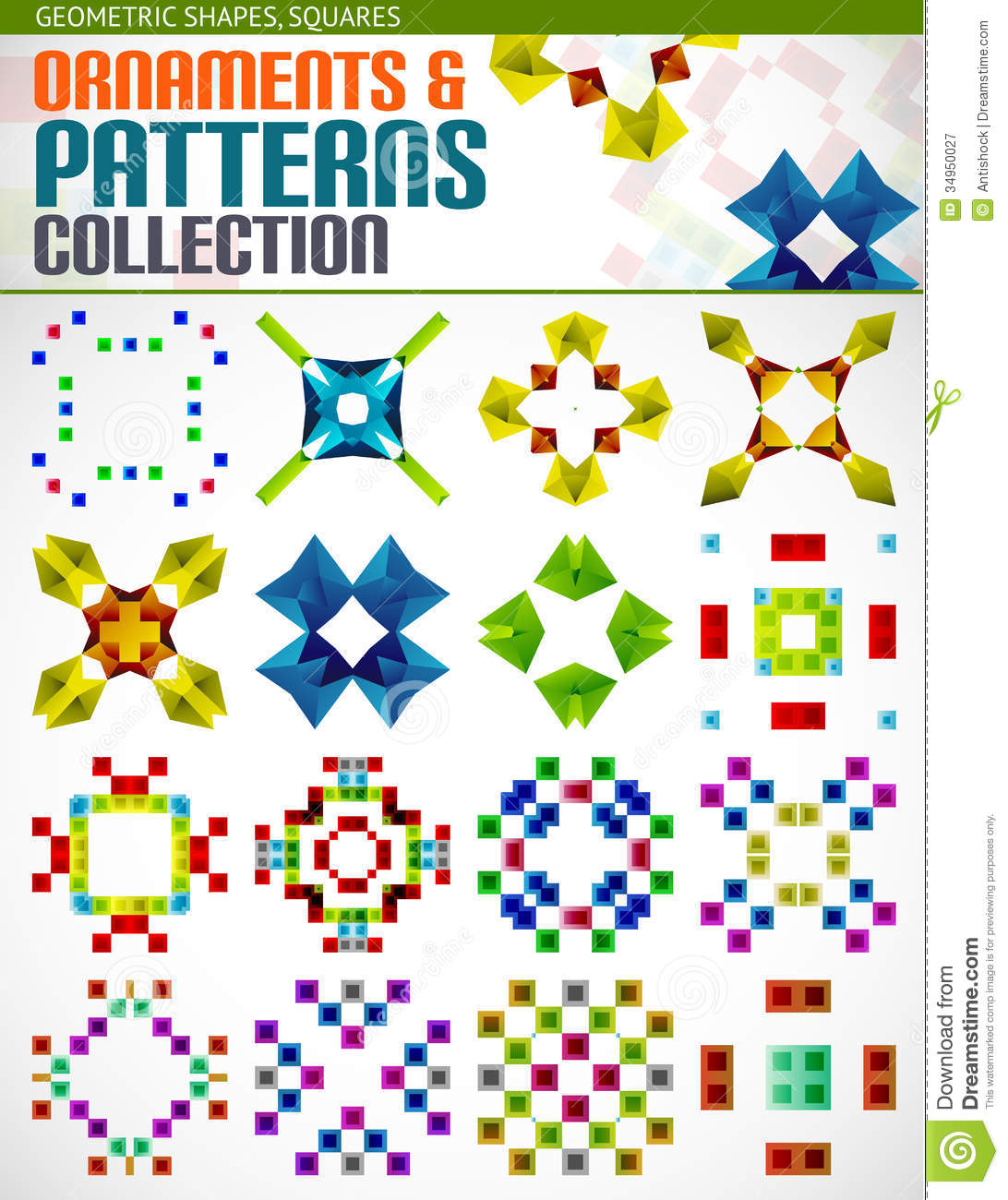 Abstract Geometric Square Patterns Shapes Set Stock Vector ...