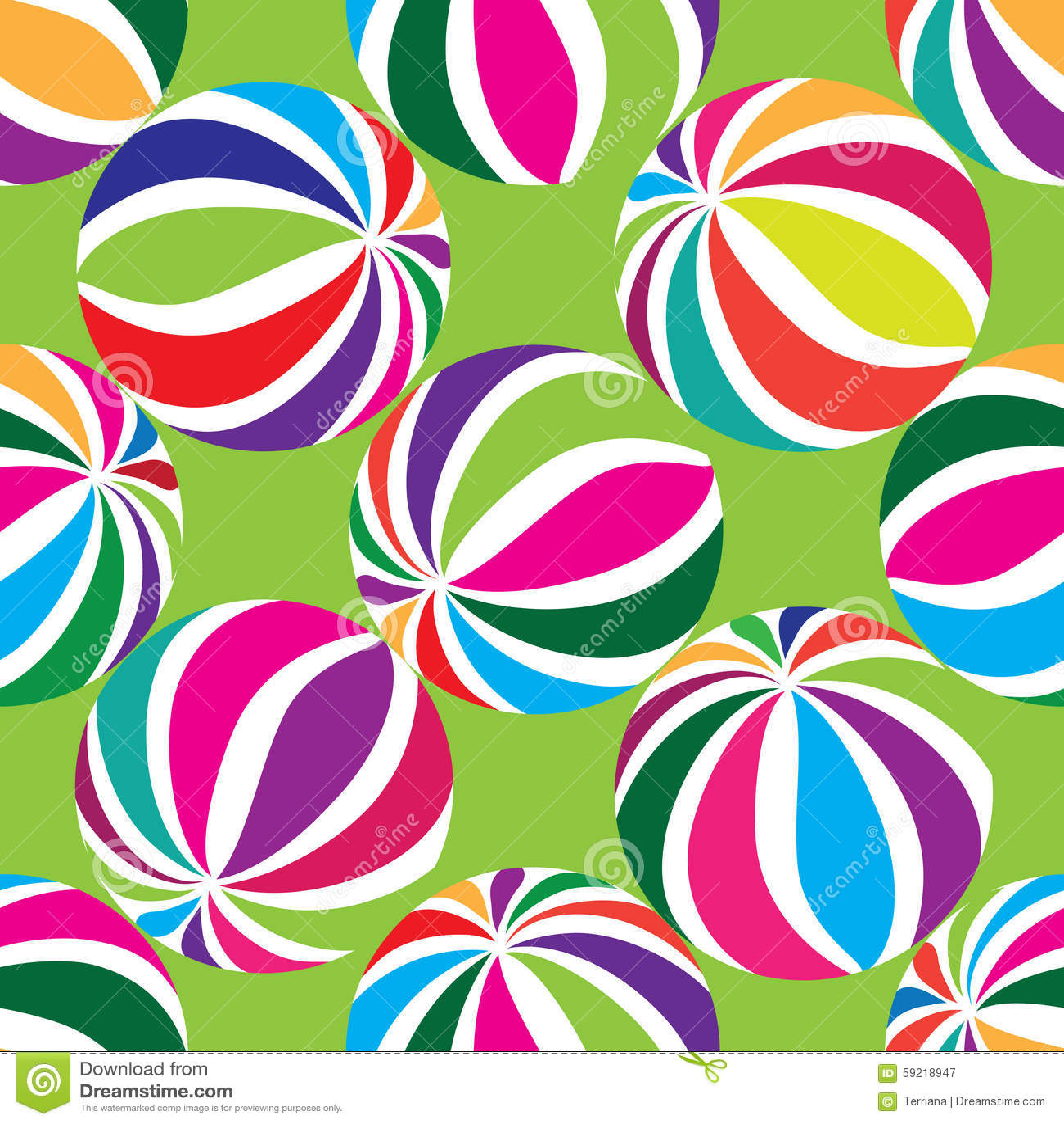 Abstract geometric striped balls seamless pattern.
