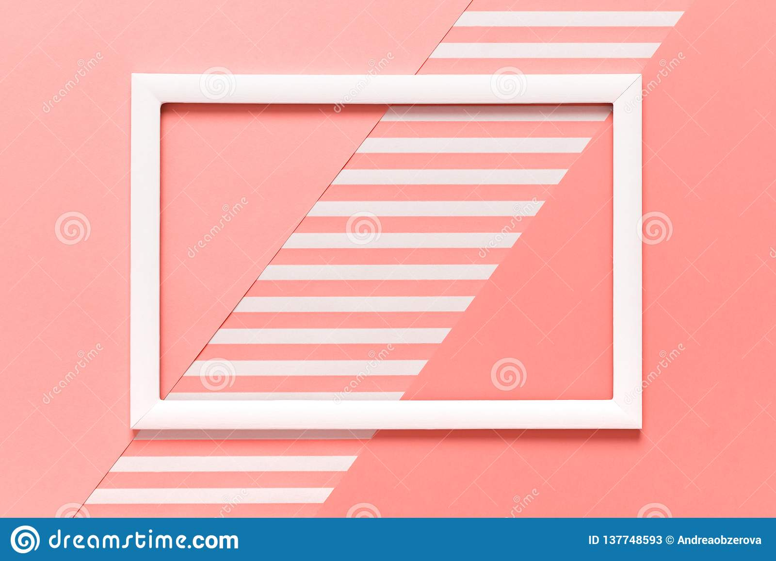 Abstract geometrical living coral pantone color flat lay background. Minimalism, geometry and symmetry template.