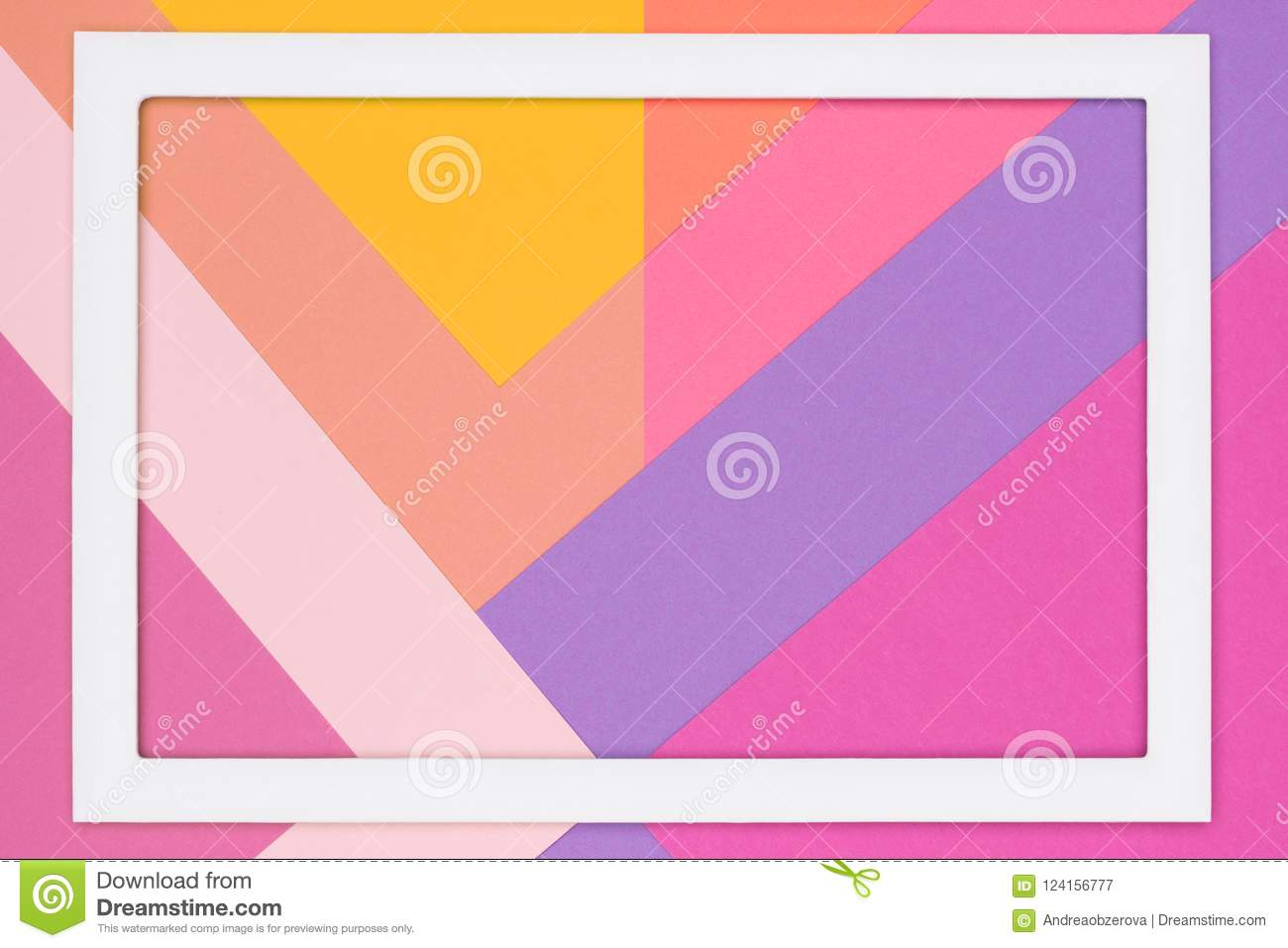 abstract geometrical pastel pink and ultra violet paper flat lay