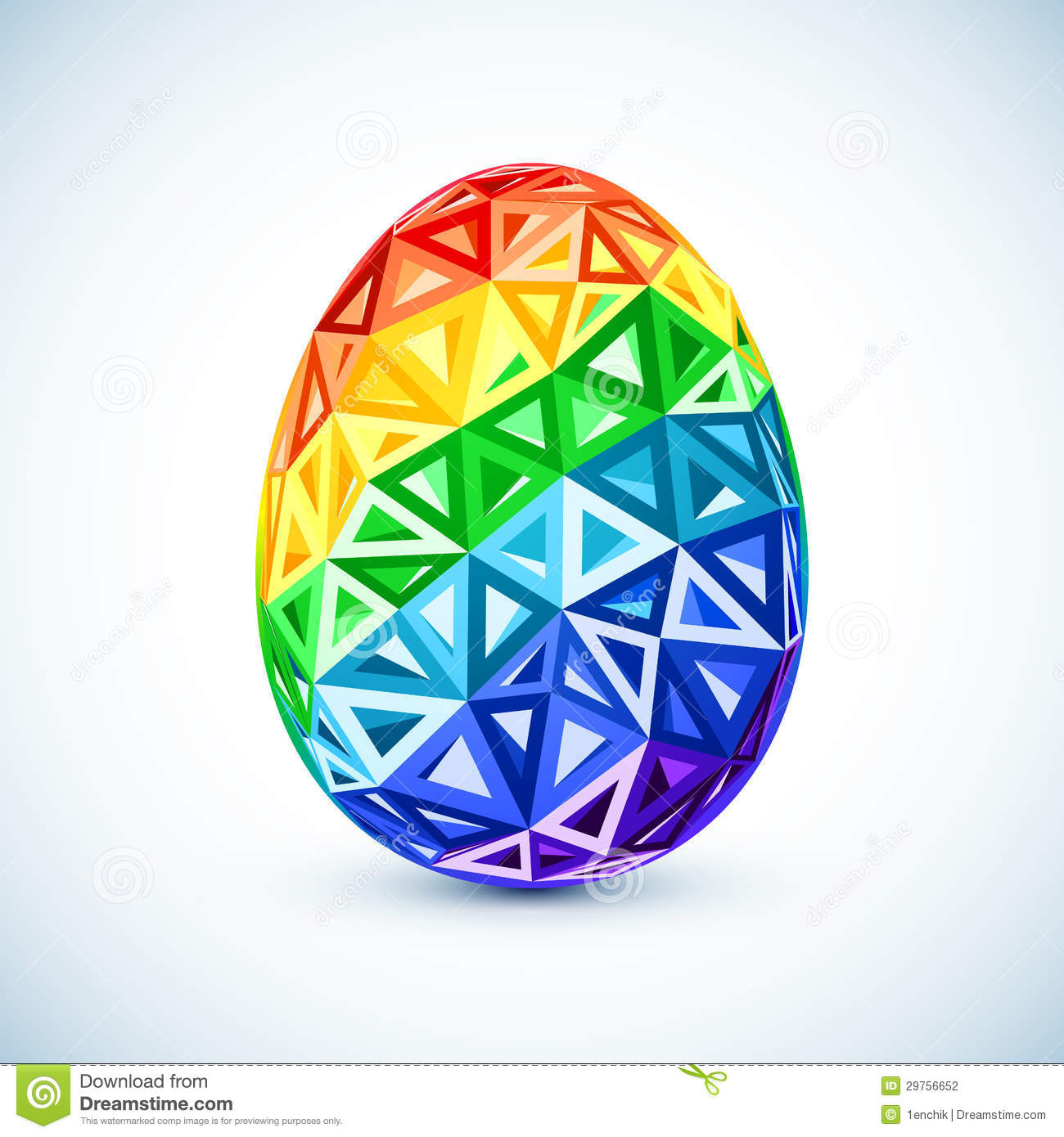 Abstract Geometry Triangles Rainbow Easter Egg Stock