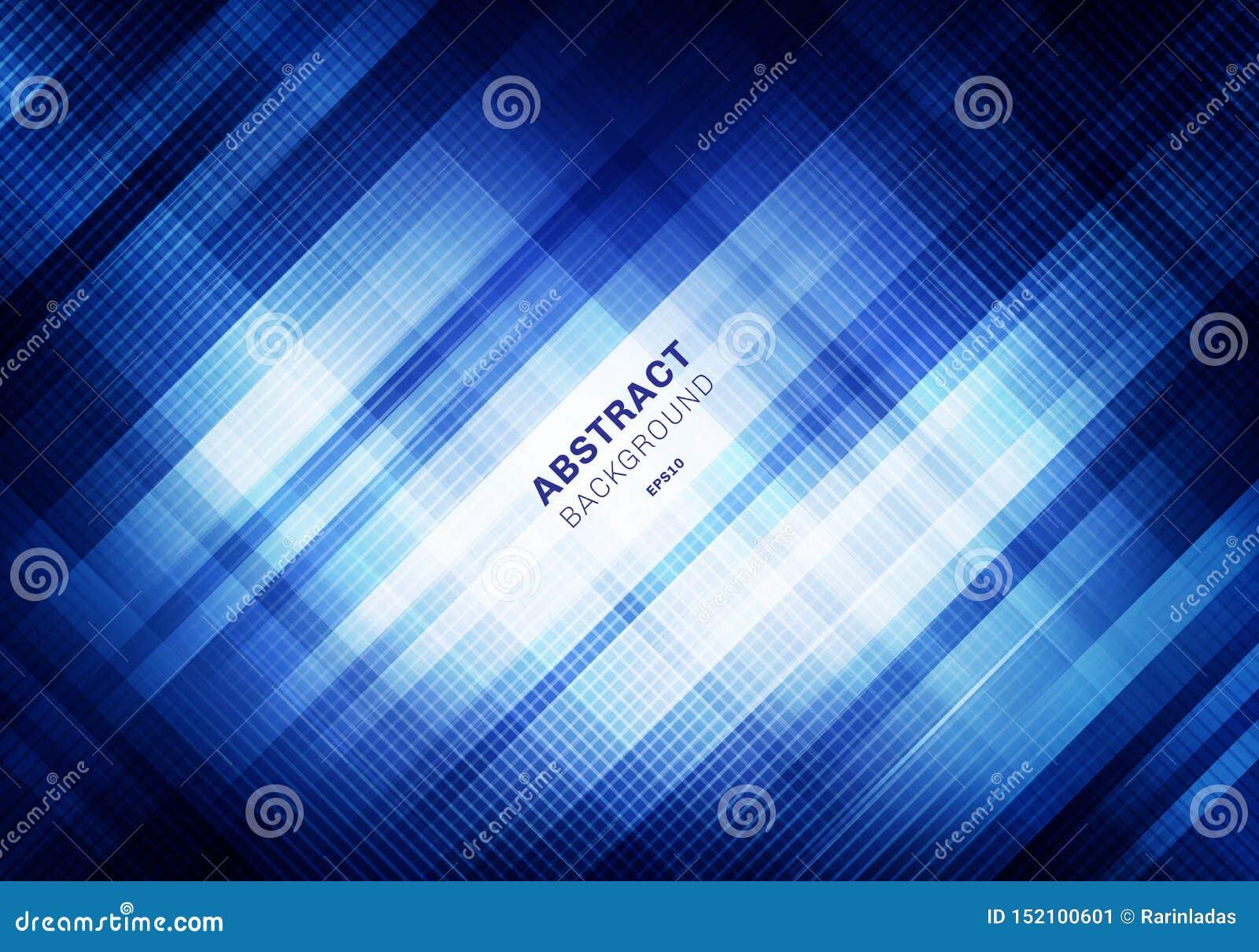 Abstract gestreept blauw netpatroon met verlichting op donkere achtergrond Geometrische vierkanten die de stijl van de ontwerptec
