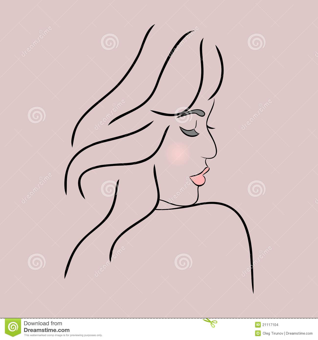 Abstract Girl Face Profile Stock Vector Illustration Of Care