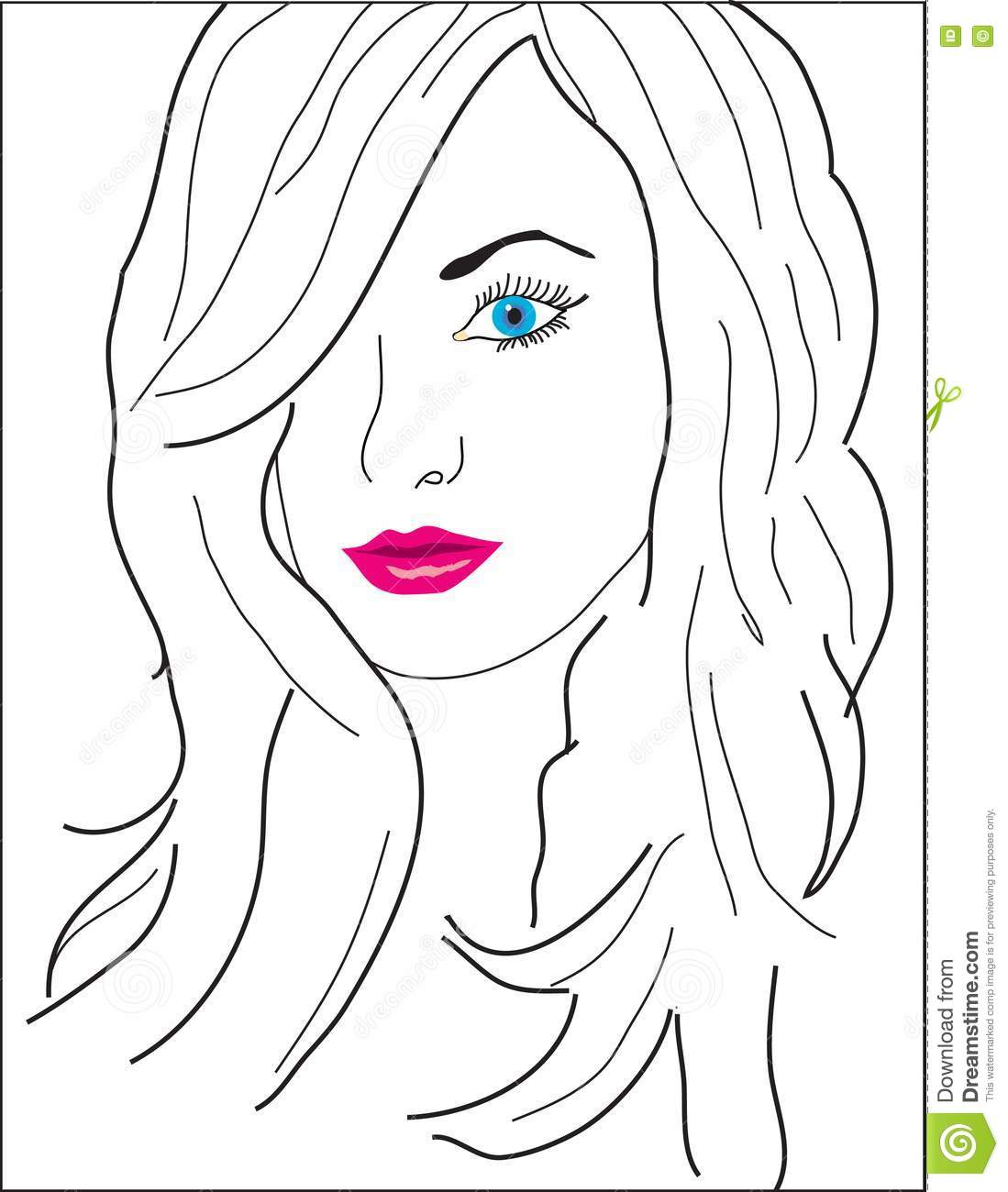 An Abstract Girl's Face With Color Eyes And Lips Stock