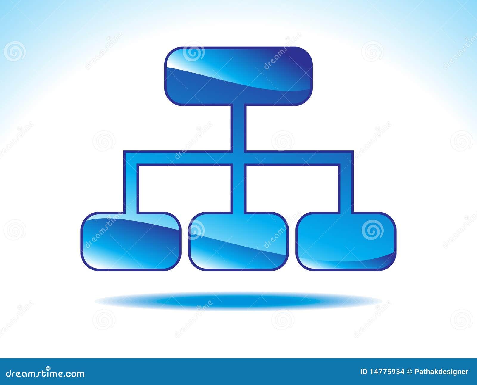 Abstract glanzend blauw sitemappictogram