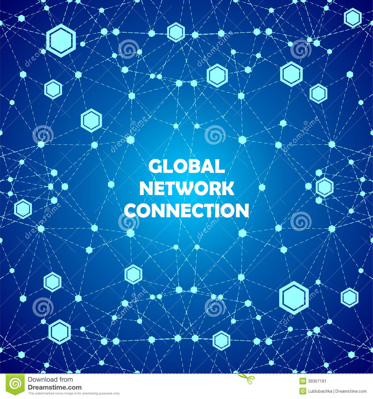 Abstract Global Network Connections Blue Background Illustration ...