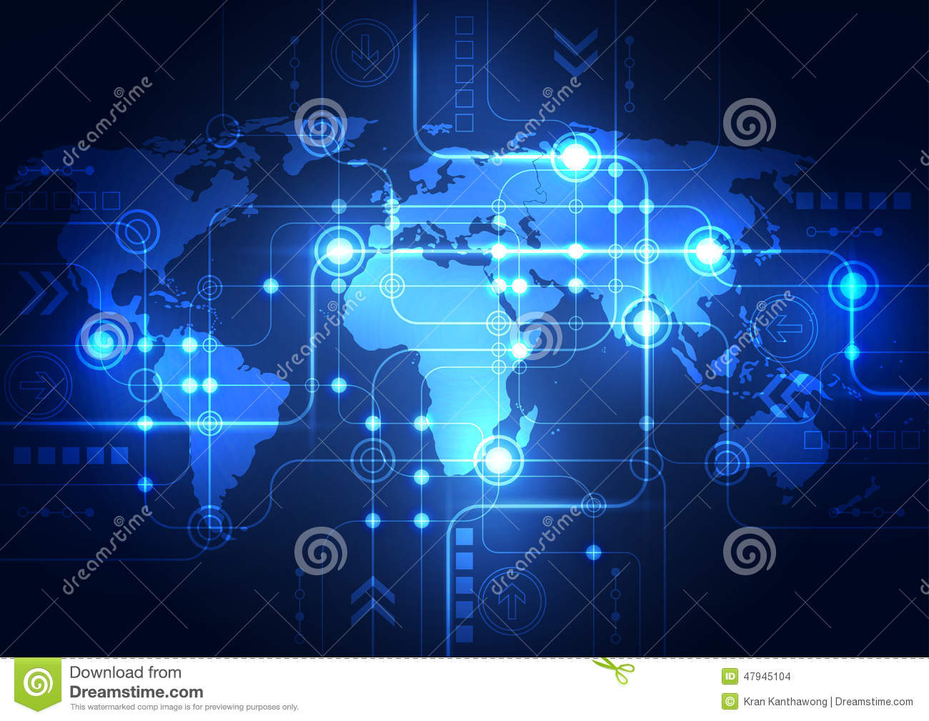 Technology Abstract Background Stock Illustration: Abstract Global Network Technology Background, Vector