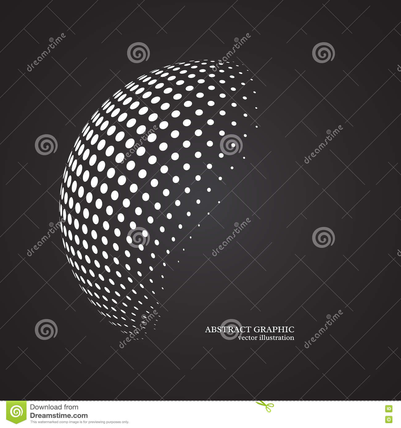 royalty free illustration abstract globe dotted sphere 3d halftone dot effect white colo stock illustration - Free Colo