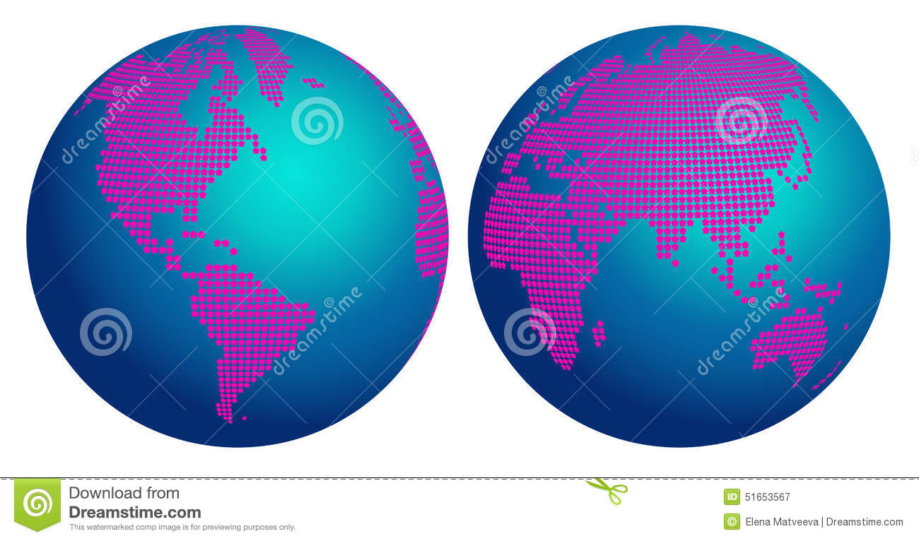 Abstract Globe Map Of The World With Pink Flower Dots ... Earth Map Globe