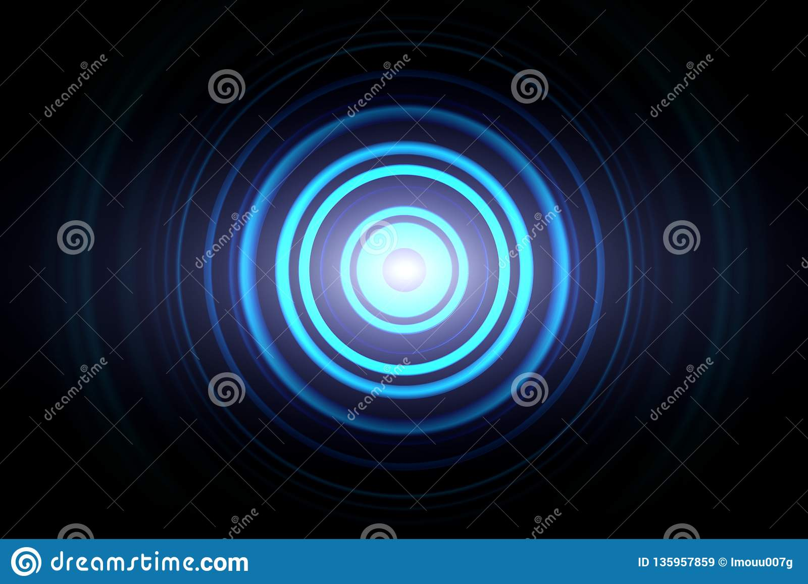Abstract glowing circle blue light effect with sound waves oscillating background