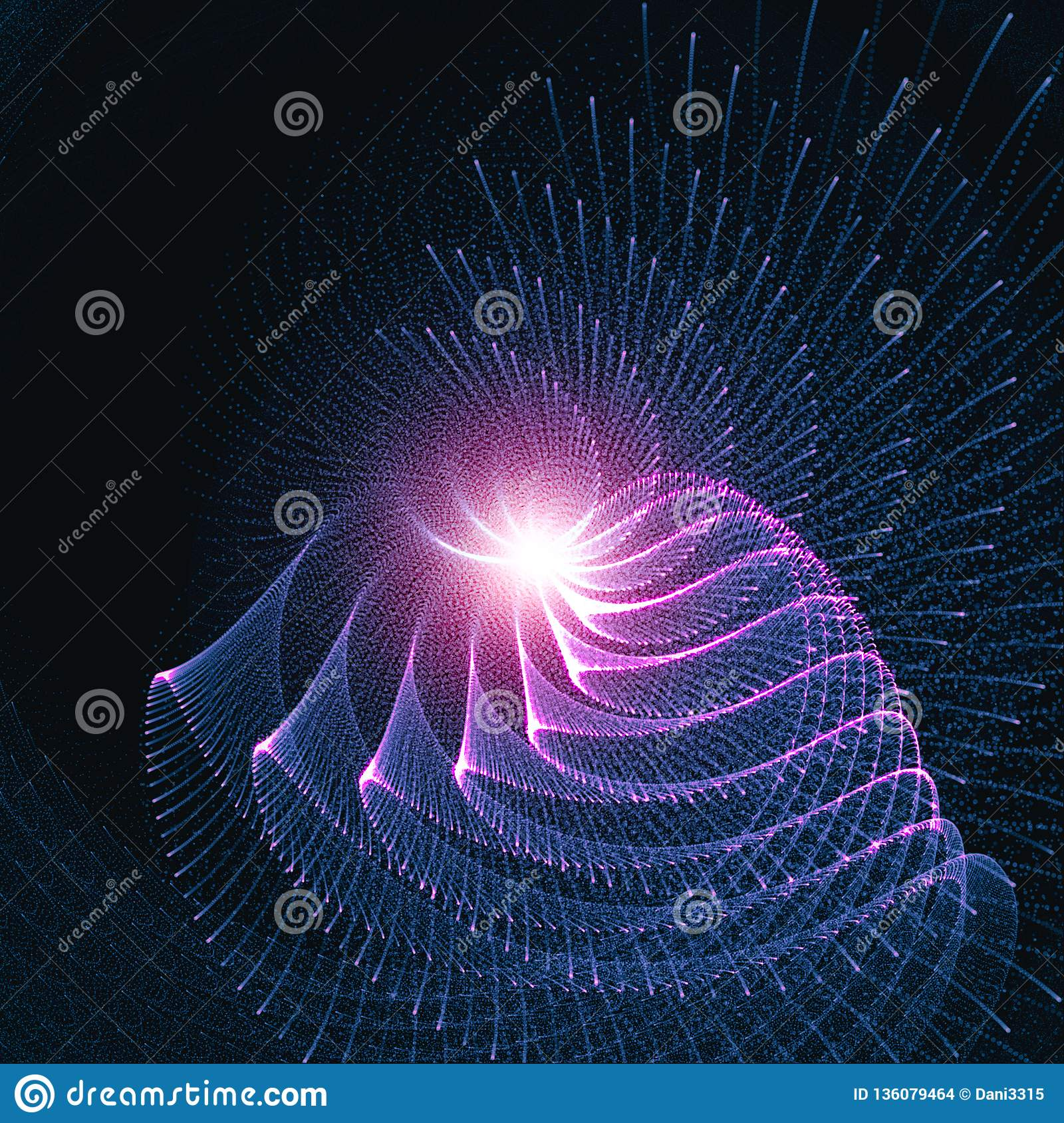 Abstract Glowing Curved Lines Background. Rays Of Light Flowing In Circular Motion