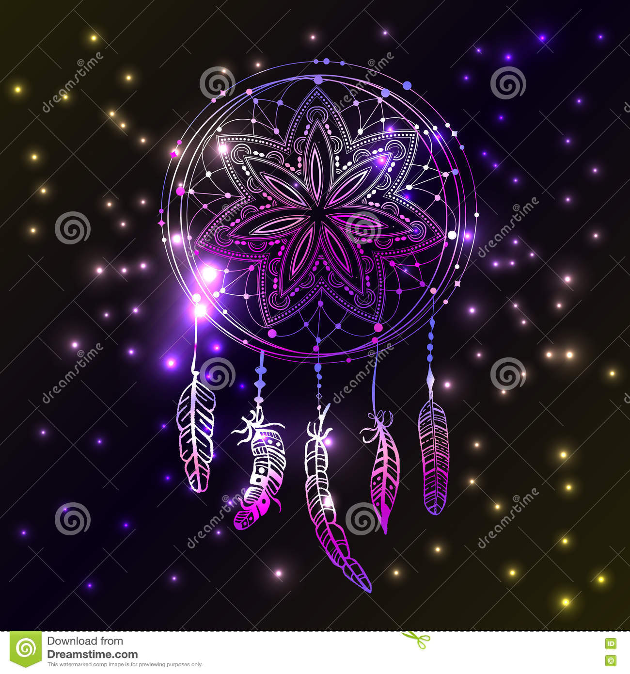 Abstract glowing dreamcatcher in blue and pink colors. Luminescence illustration. Boho style background, ethnic design elem