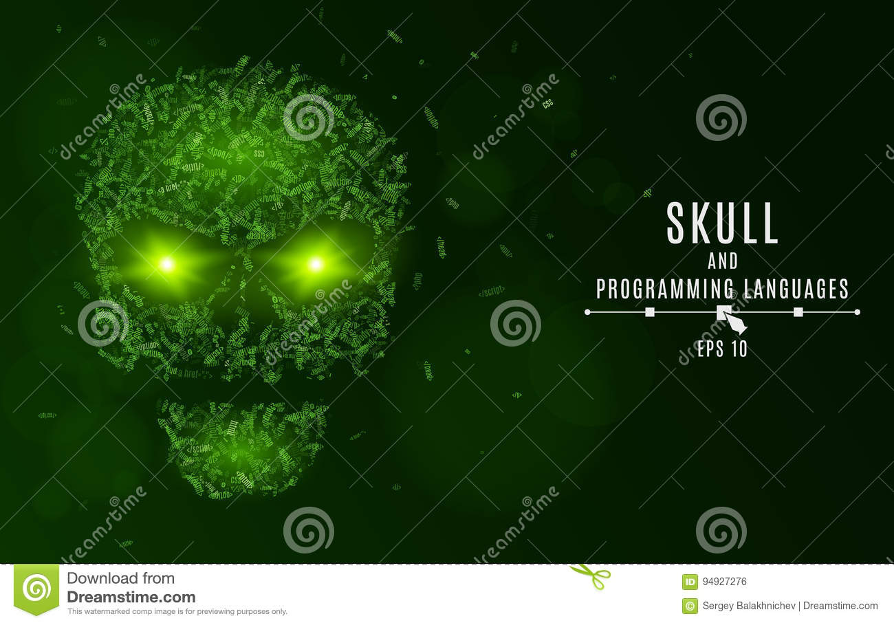 Abstract Glowing Skull Of Green Color From The Symbols  Tags
