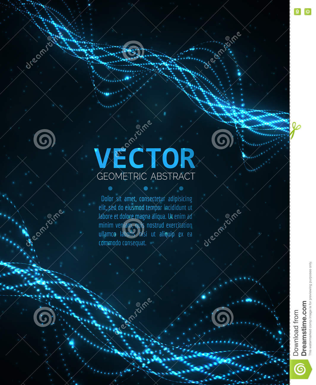 Abstract glowing spiral. Vector particles light. Blue lines background