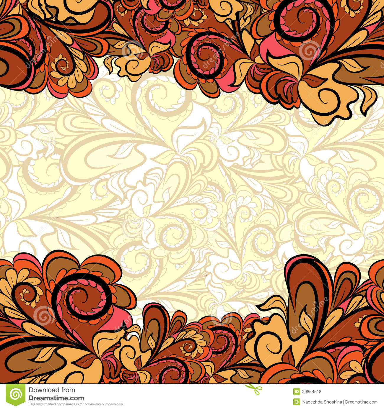 Gold-brown Borders With Beige Royalty Free Stock Photos