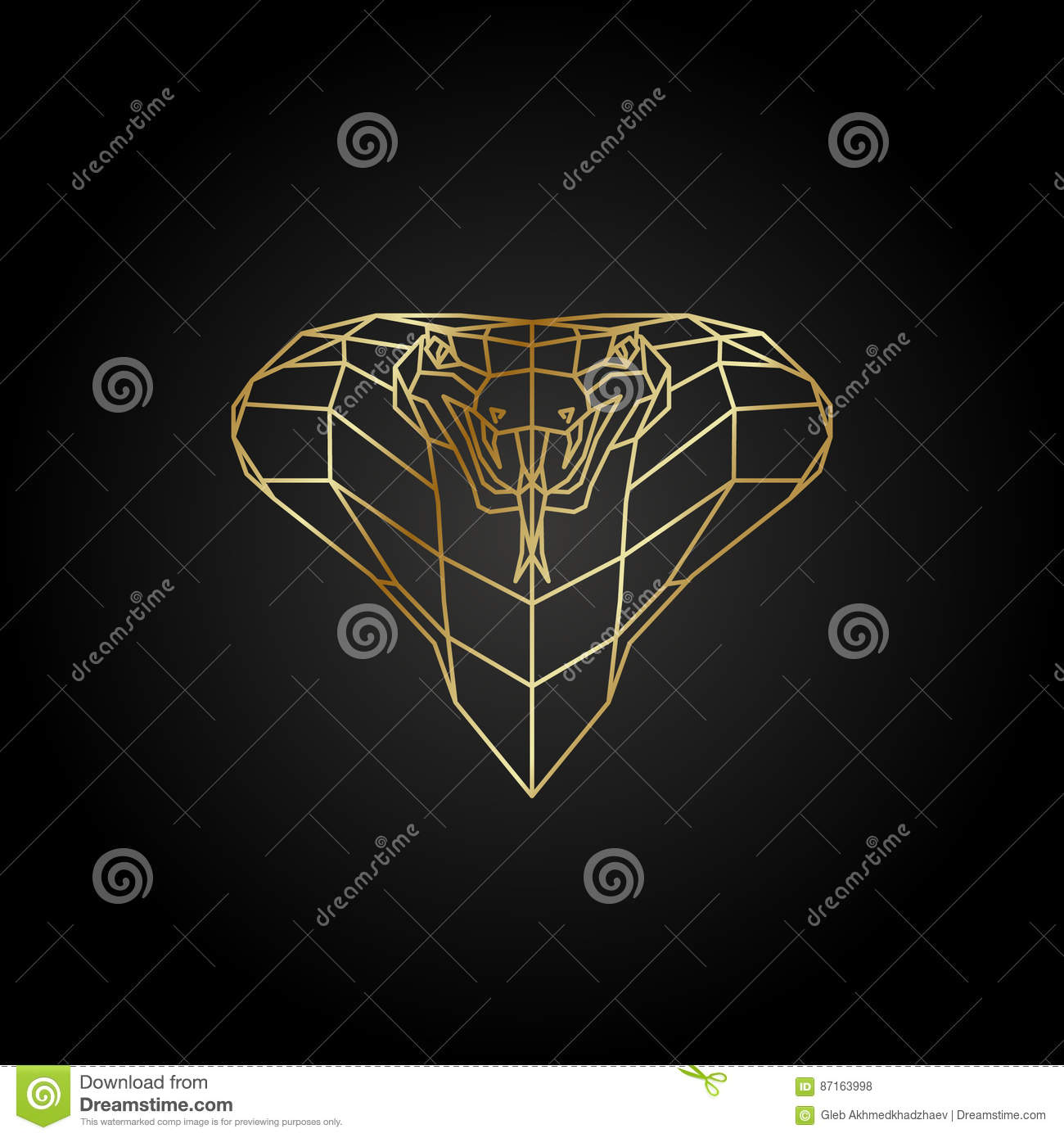 Abstract Gold Cobra Polygon Template On A Black Background Stock