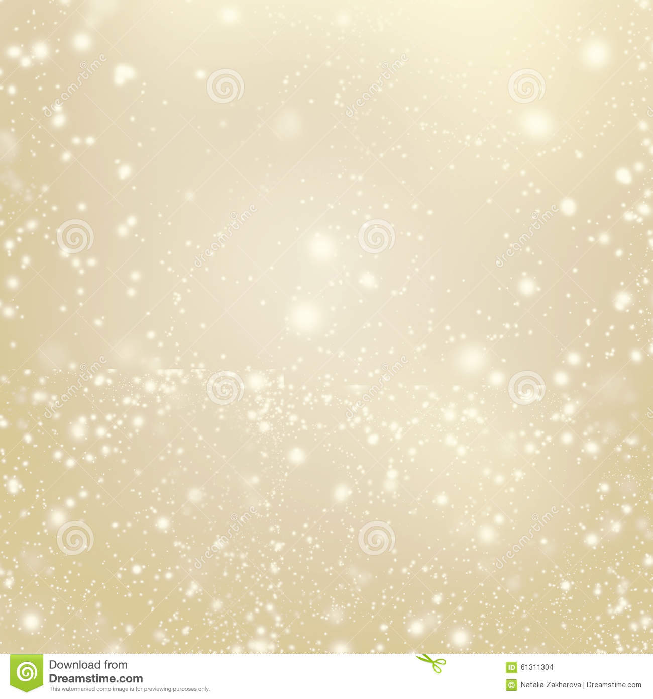 Abstract Gold Glittering Christmas Lights Blurred