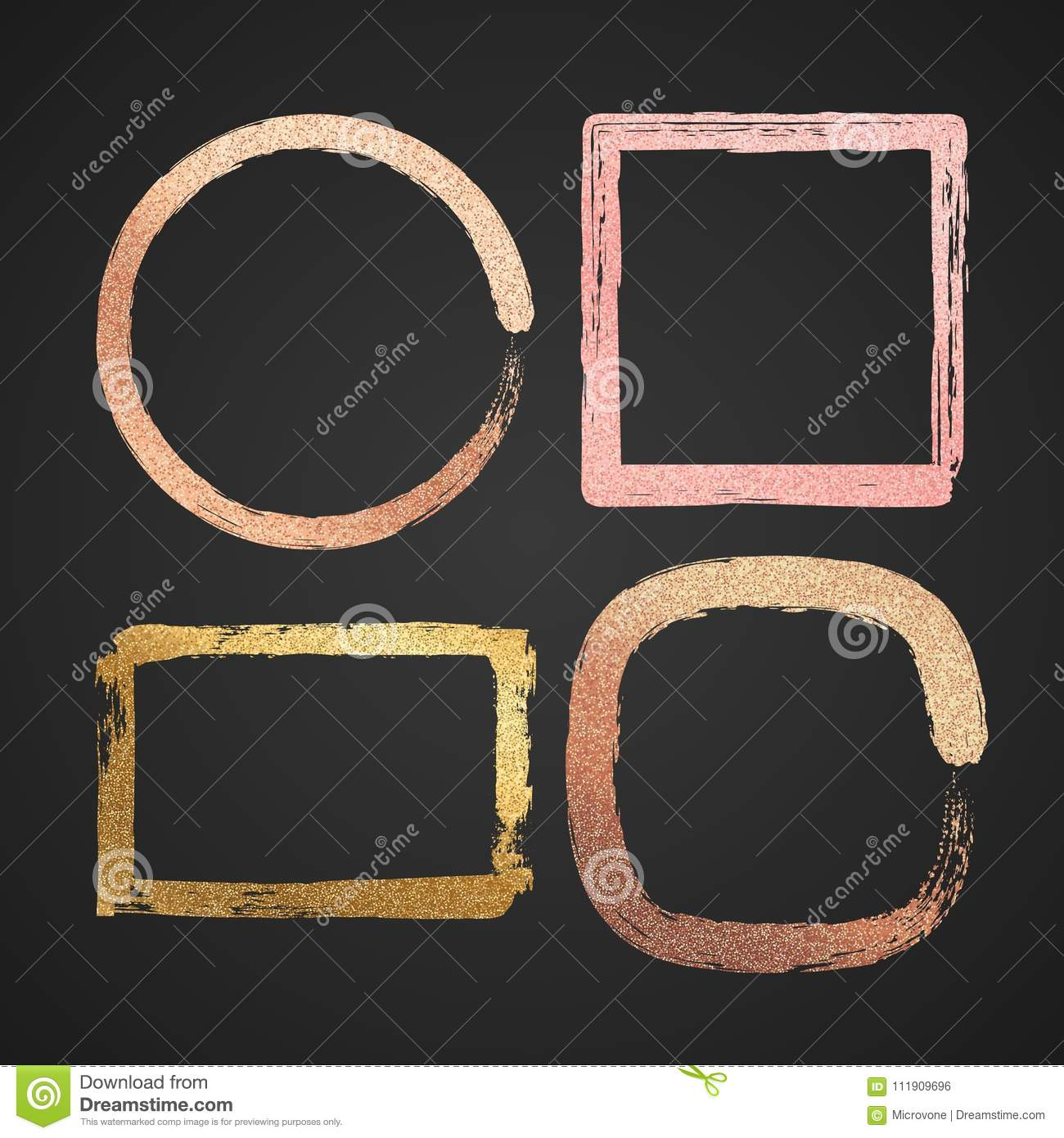 Abstract Gold And Pink Metal Glossy Vector Border Paint Frames