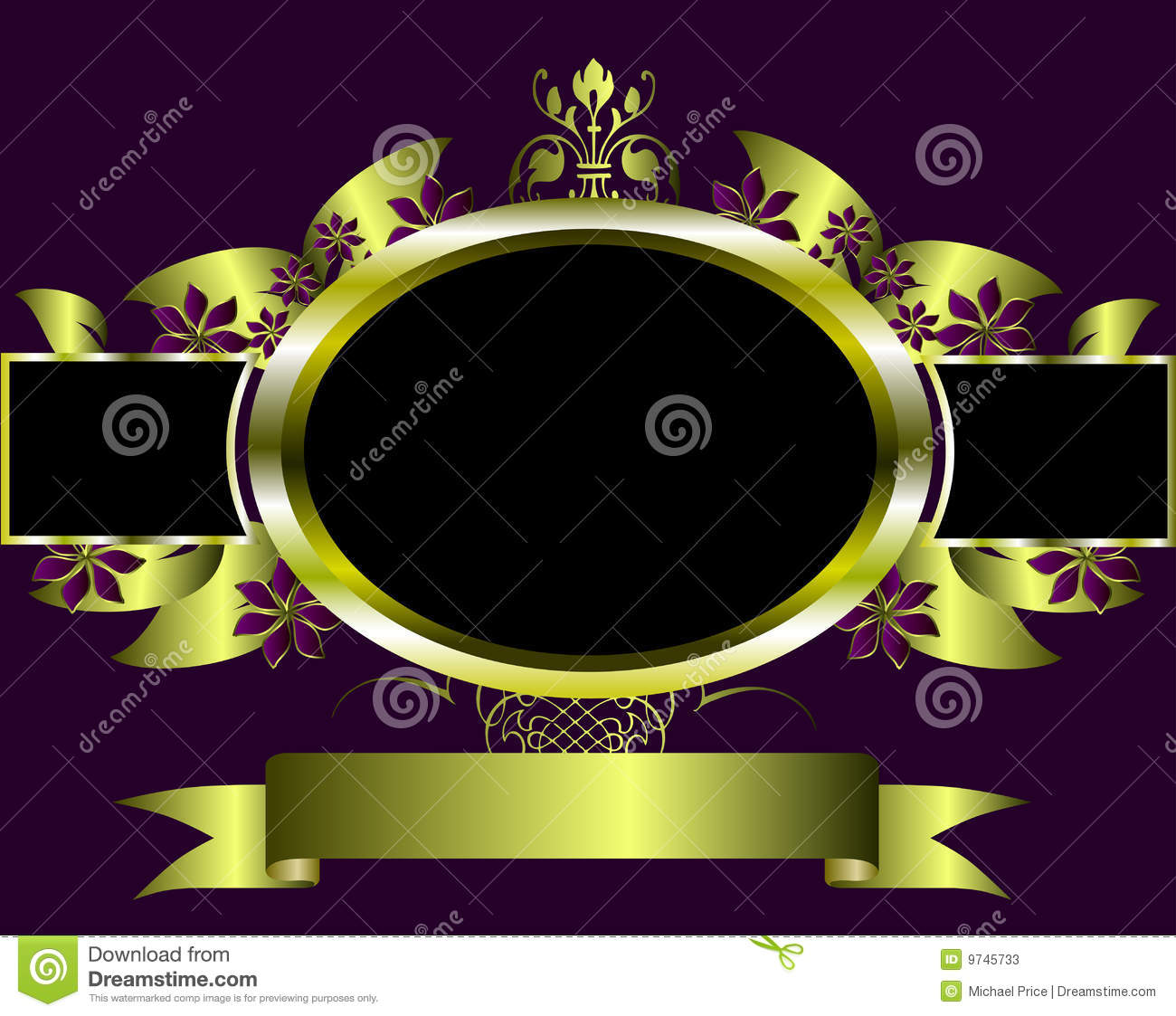 Purple And Gold Abstract Floral Background Vector Vector ...