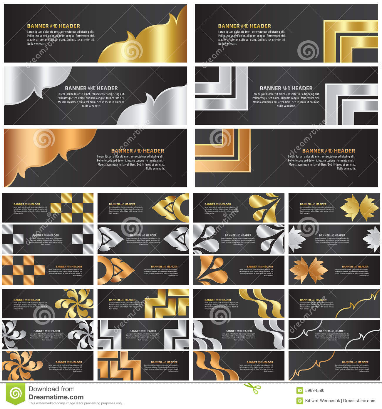 ... Vector: Abstract gold, silver and bronze banner template design set