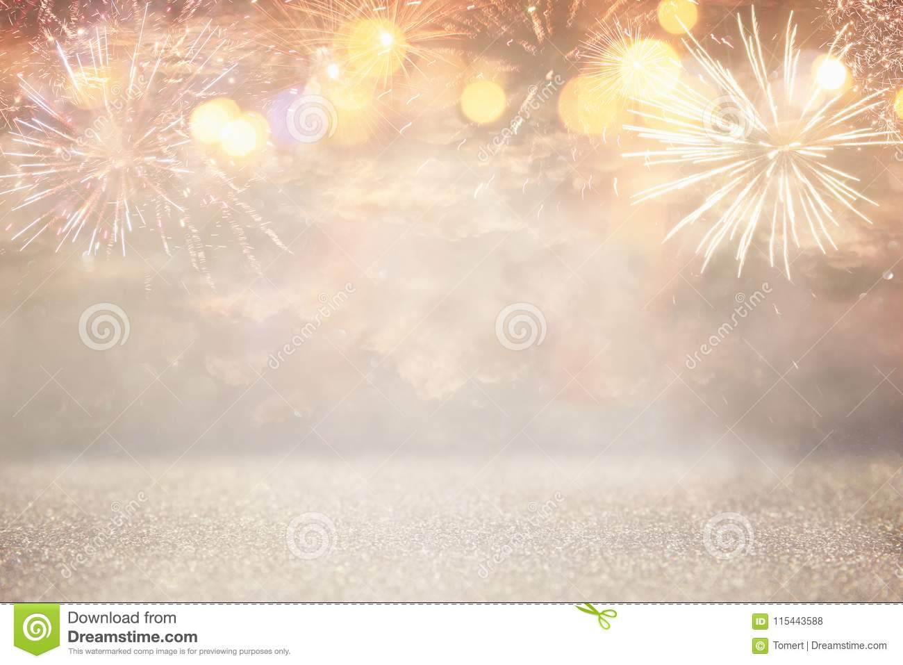 Abstract Gold And Silver Glitter Background With Fireworks ...