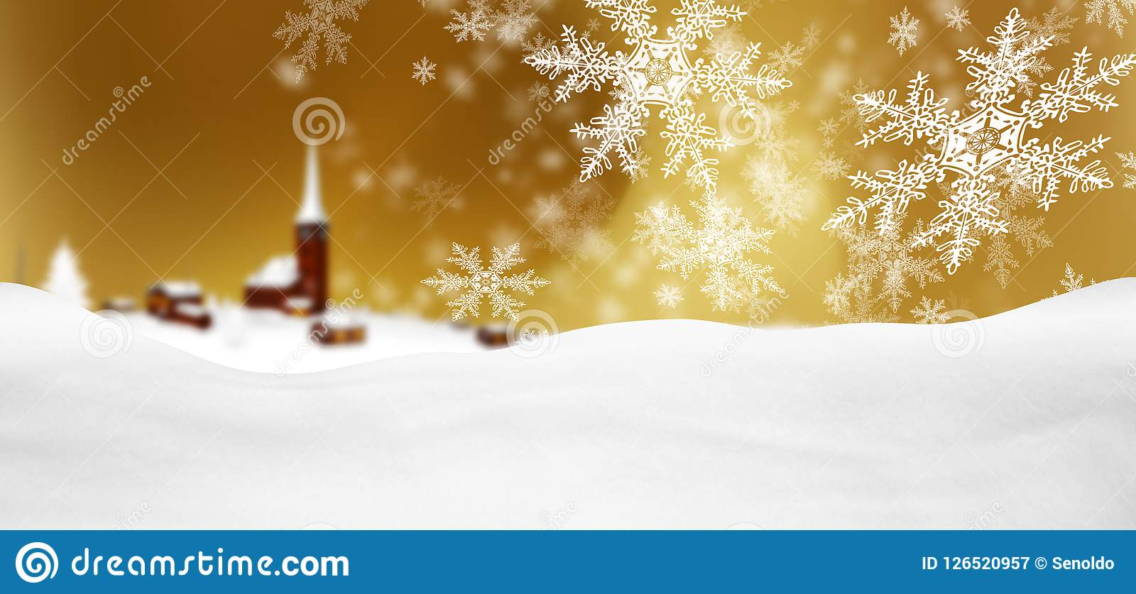 Abstract Golden Background Panorama Winter Landscape with Fallin