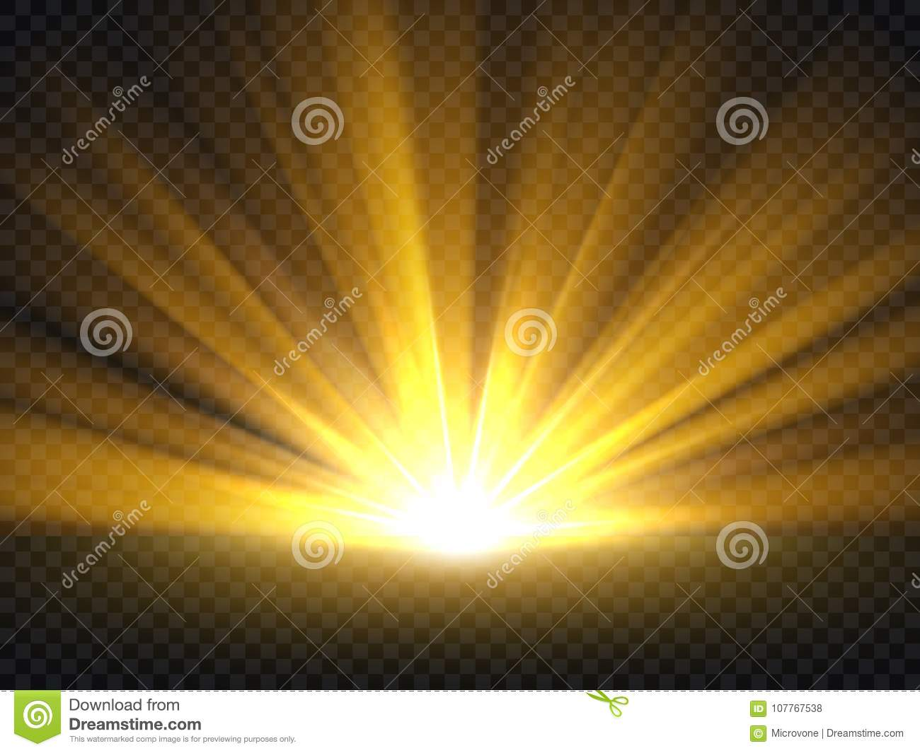 Abstract golden bright light. Gold shine burst vector illustration