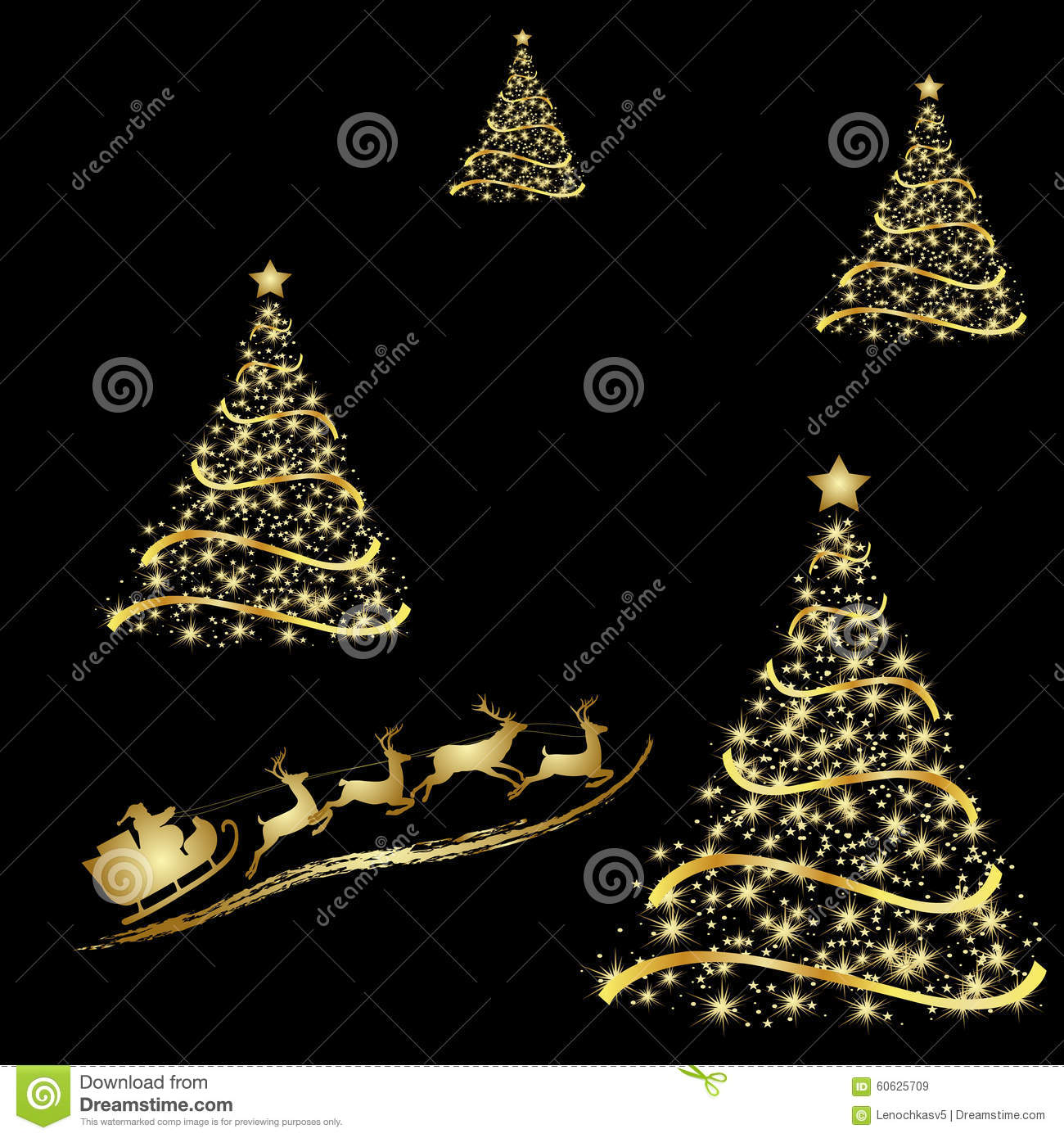 abstract golden christmas tree on black background stock vector