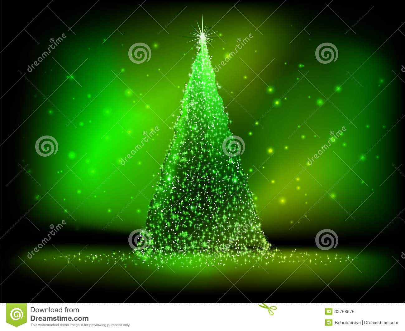 Abstract Golden Christmas Tree On Green Eps 10 Stock Vector