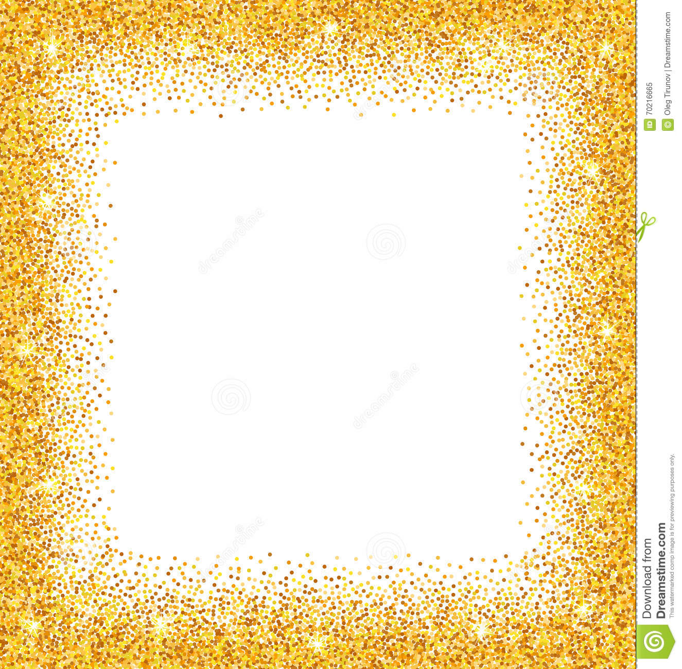 Gold glitter bright vector transparent background golden sparkles - Abstract Golden Frame With Sparkles On White Background