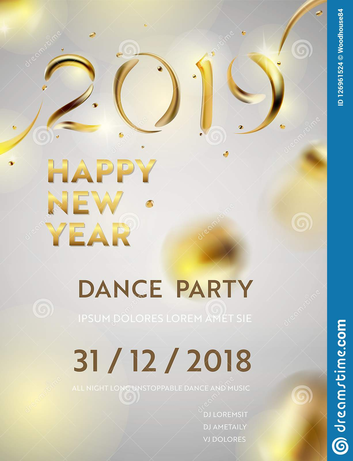 abstract golden 2019 new year background of modern liquid graphic elements dynamic banner with flowing