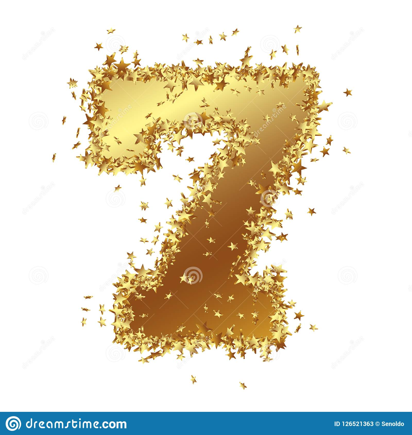 Abstract Golden Number with Starlet Border - Seven - 7